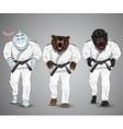 set cartoon sports man-sharkman-bear and man vector image