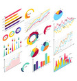 set elements isometric infographics info bars vector image