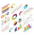 set elements of isometric infographics info bars vector image