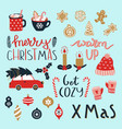 set merry christmas and happy new year vector image vector image