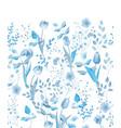 spring flowers seamless floral border vintage vector image