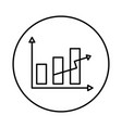 statistics bars and arrow vector image
