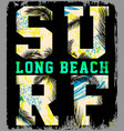 surf summer beach background in retro style vector image vector image