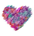 the heart of the colorful lines markers vector image vector image