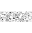 various dishes and kitchen utensil doodle set vector image vector image