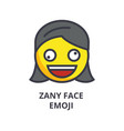 zany face emoji line icon sign vector image vector image