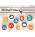 Internet with web icons vector image