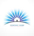 house with sun rays company logo design vector image