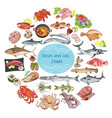 sea and ocean food round concept vector image