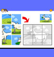 jigsaw puzzles with goat farm animal character vector image