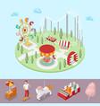 amusement park with carousel ferris wheel vector image