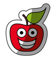 colorful red kawaii fruit apple happy icon vector image