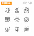 9 line set corona virus epidemic icons vector image vector image