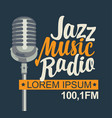 banner for jazz music radio with silver microphone vector image vector image