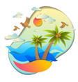 beautiful seascape with sea waves beach and palms vector image