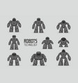 black different robots set vector image vector image