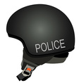 Black police helmet with text police vector image vector image