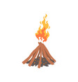 bonfire camping fire logs burning cartoon vector image vector image
