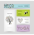 Business cards design yoga tree vector image