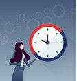 businesswoman with a big clock business concept vector image vector image