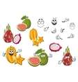 Cartoon fresh tropical fruits characters vector image vector image