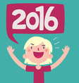 Cartoon Girl Celebrating the New Year 2016 vector image