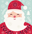 christmas with santa claus and festive pattern vector image vector image