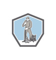Cleaner Janitor Mopping Floor Retro Shield vector image vector image
