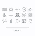 collection of music elements outline icons vector image