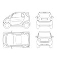 compact small car in outline vector image vector image