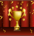 cup prize with stars and confetti celebration vector image
