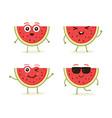 cute set watermelon fruit character vector image vector image