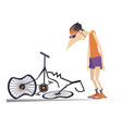 cyclist and a broken bike isolated vector image vector image