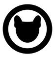 dog head icon black color in circle vector image vector image