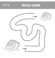 easy maze for younger kids with a turtle vector image vector image