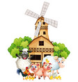 farm animals and windmill vector image vector image