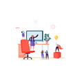 flat people characters working in office computer vector image vector image