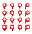 Flat red color map pin sign location icon vector image vector image