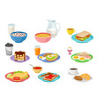 flat set of food and drink icons tasty vector image vector image