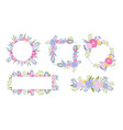 floral circular and rectangular frames and borders vector image vector image