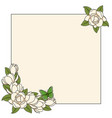 frame with magnolia flowers and a butterfly vector image vector image