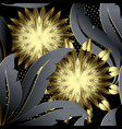 gold 3d flowers floral seamless pattern vector image vector image