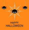 happy halloween card spider on the web cute vector image vector image