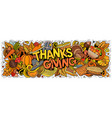 happy thanks giving hand drawn cartoon doodles vector image