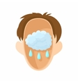 Head with rain cloud icon cartoon style vector image