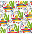 mexican hat with cactus plants and chili peppers vector image vector image