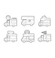 minivan icon set outline style vector image vector image