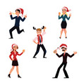 people in santa claus hats celebrating christmas vector image vector image