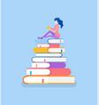 pile of books and lady sitting on top reading vector image