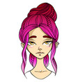pink-haired girl face indifference facial vector image